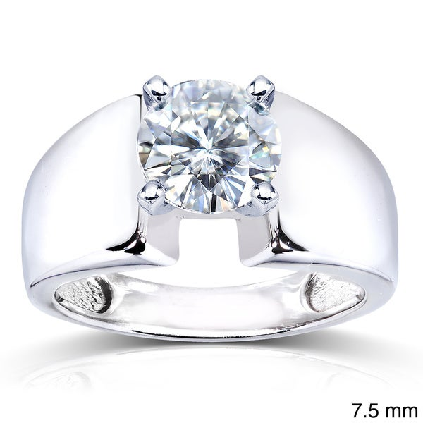 Annello 14k White Gold Prong-set Round Moissanite Solitaire Ring