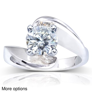 Annello 14k White Gold Round-cut Moissanite Solitaire Curved Ring
