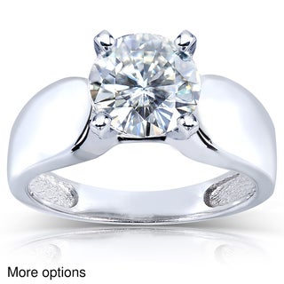14k White Gold Prong-set Round-cut Moissanite Solitaire Ring