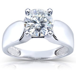 Annello 14k White Gold Prong-set Round-cut Moissanite Solitaire Ring