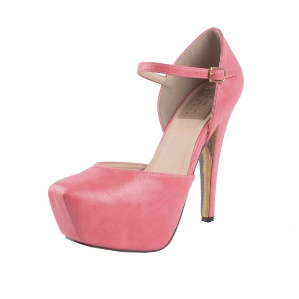 Fahrenheit by Beston Women's 'Caroline-02' Ankle Strap Pumps