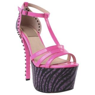 Fahrenheit by Beston Women's 'Jean-10' Pink T-Strap Studded Platform Heel