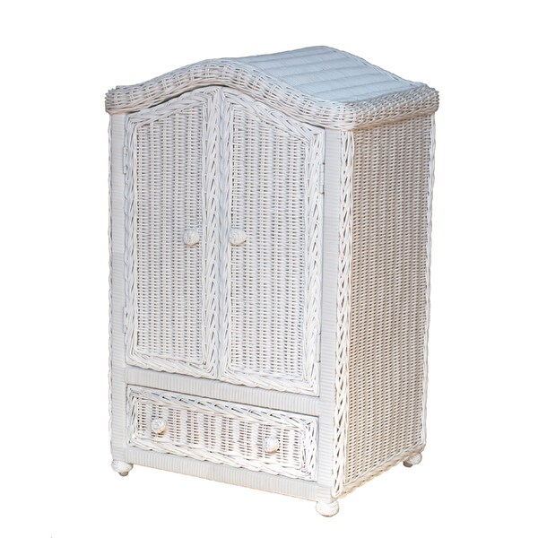 International Caravan White Wicker 2-door Doll Armoire