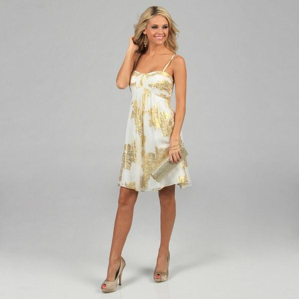 Oleg Cassini Women's Ivory and Gold Metallic Printed Silk Dress