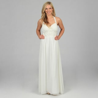 Oleg Cassini Women's Ivory Halter Neck Long Evening Gown