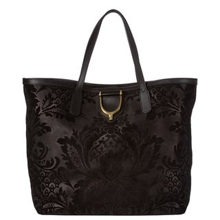 Gucci Black Soft Brocade Leather Stirrup Tote Bag