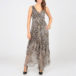 Grace Elements Women's Leopard Print Sheer Long Dress