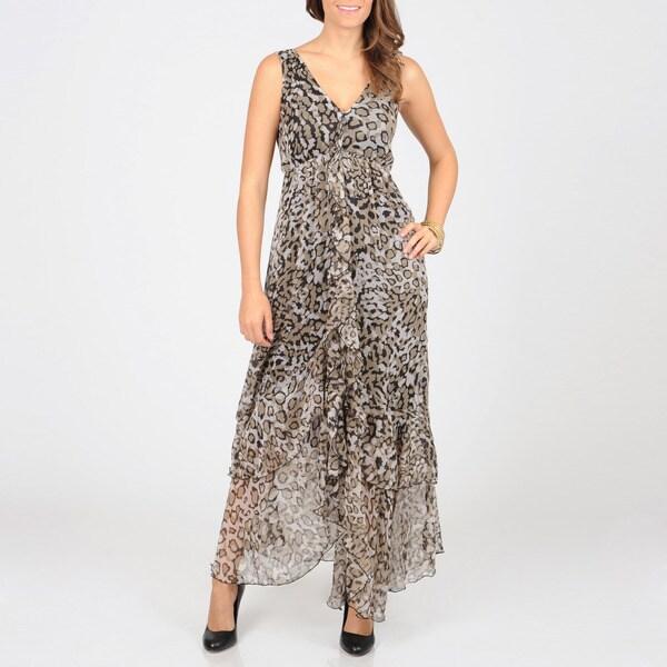 Grace Elements Women's Leopard Print Sheer Long Dress