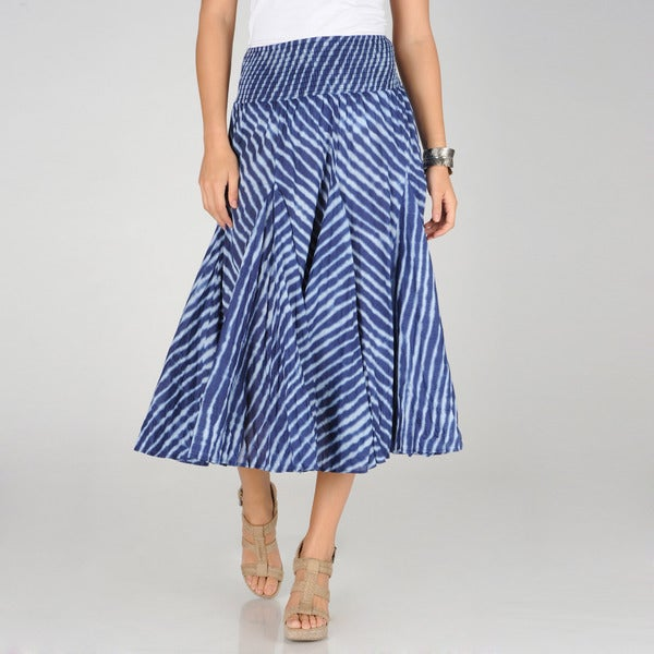 Grace Elements Women's Blue Striped Tie-Dye Long Skirt