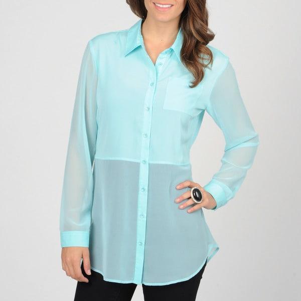 Grace Elements Women's Seaside Aqua Button-down Sheer Top