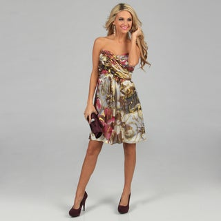 Xscape Women's Ivory Foil Printed Strapless Party Dress