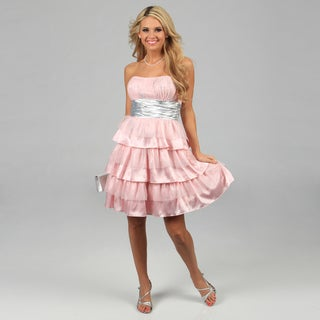 Blondie Nites Juniors Pink Glittery Tiered Strapless Dress