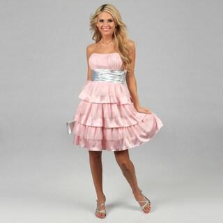 Blondie Nites Juniors Pink Glittery Tiered Strapless Dress