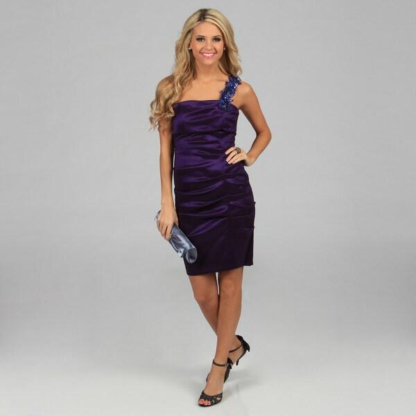 Blondie Nites Juniors Metal Purple One-shoulder Taffeta Dress