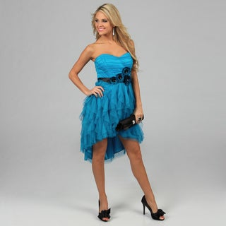 Blondie Nites Juniors Teal Strapless Tulle High-low Party Dress
