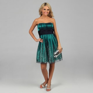 Blondie Nites Juniors Blue Strapless Glitter Mesh Party Dress