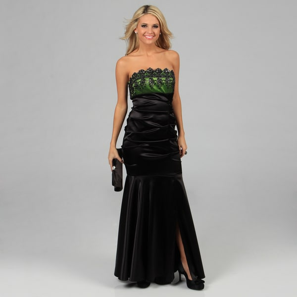 Blondie Nites Juniors Black and Green Long Embroidered Strapless Dress