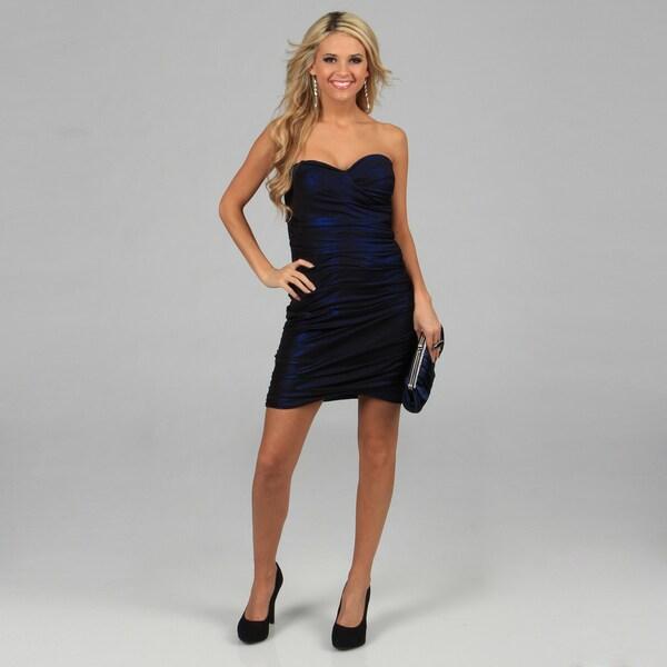 Blondie Nites Juniors Navy Ruched Strapless Party Dress