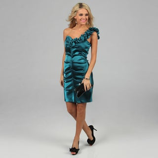 Blondie Nites Juniors Teal Pin-tucked Bodice One-shoulder Dress