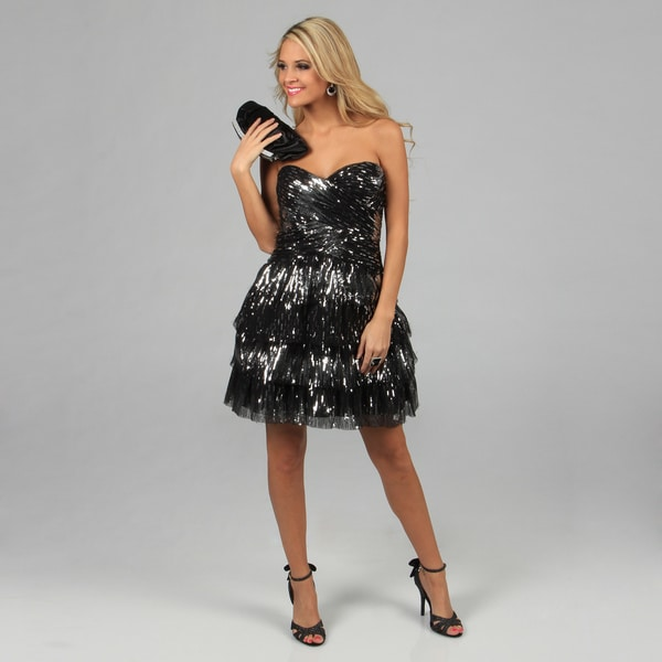 Blondie Nites Juniors Black and Silver Sequin Embellished Strapless Dress