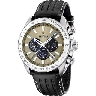Festina Men's Brown Dial Tachymeter Chrono Watch
