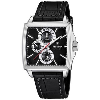 Festina Men's Black Leather Strap Square Dial Steel Watch
