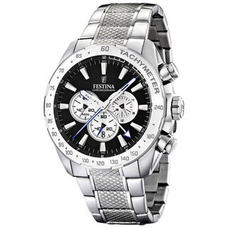 Festina Men's Stainless Steel Black Dial Chrono Watch