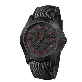 Gucci Men's 'G-Timeless' Black IP Techno Leather Strap Watch