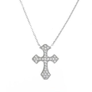 La Preciosa Sterling Silver White Topaz Cross 16-inch Necklace