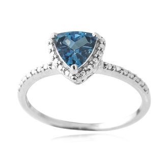 Glitzy Rocks Sterling Silver London Blue Topaz Diamond Accent Ring