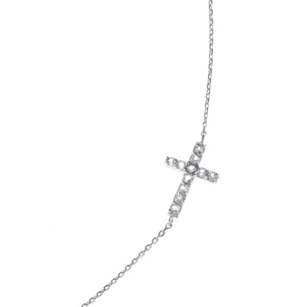 La Preciosa Sterling Silver White Topaz 18-inch Sideways Cross Necklace