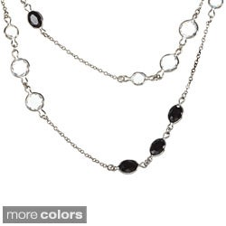 La Preciosa Sterling Silver Colored Cubic Zirconia 68-inch Necklace