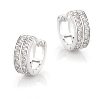 Icz Stonez Sterling Silver Cubic Zirconia Pave Mini Hoop Earrings