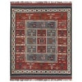 Hand-woven Tribal Red Wool/ Jute Rug (10' x 14')