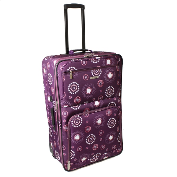 Rockland Deluxe Purple Pearl 28-inch Expandable Rolling Upright Suitcase