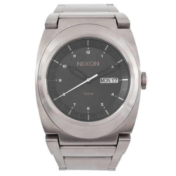 Nixon Men's Don A358000 Silver Stainless-Steel Quartz Watch with Black Dial