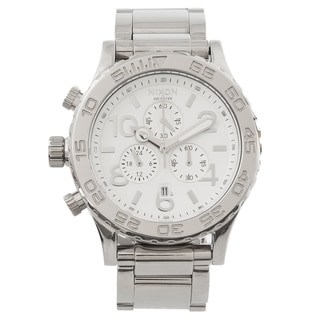 Nixon Men's 42-20 A037945 Silver Stainless-Steel Quartz Watch with White Dial