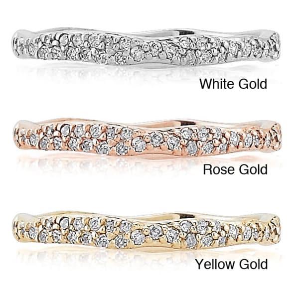 14k Gold 1/10ct TDW White Diamond Stackable Ring (J-K, I2-I3)