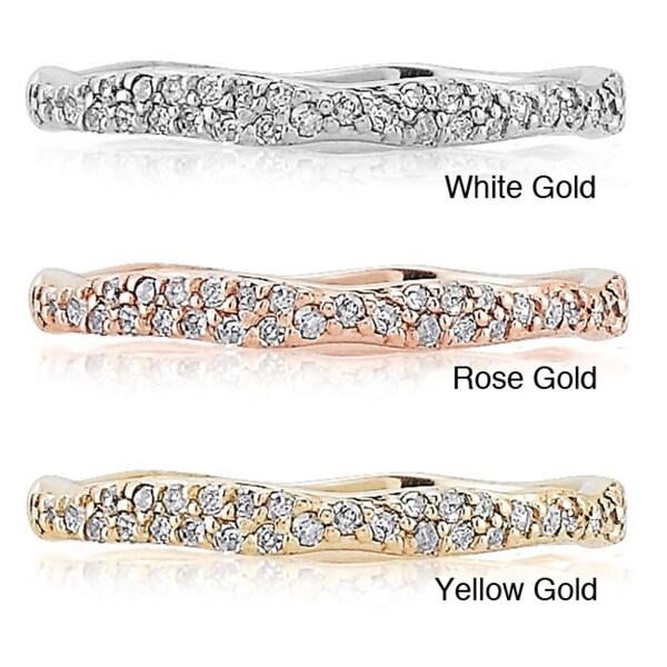 Victoria Kay 14k Gold 1/10ct TDW White Diamond Stackable Ring (J-K, I2-I3)