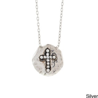 Beverly Madison Sterling Silver Cubic Zirconia Cross Necklace
