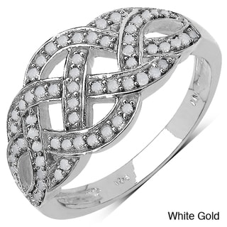 Malaika 14k Gold over Sterling Silver 1/3ct TDW Braided Diamond Ring (I-J, I3)