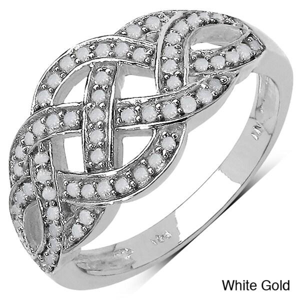 Malaika 14k Gold over Sterling Silver 1/3ct TDW Braided Diamond Ring (I-J, I3)