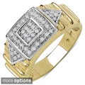 Malaika 14k Gold over Sterling Silver Men's 1/5ct TDW Diamond Ring (I-J, I3)