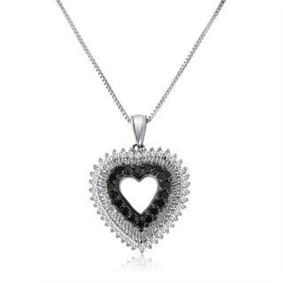 """Sterling Silver 1/2ct TDW Black and White Diamond Heart Necklace - 9'6"""" x 13'6"""""""