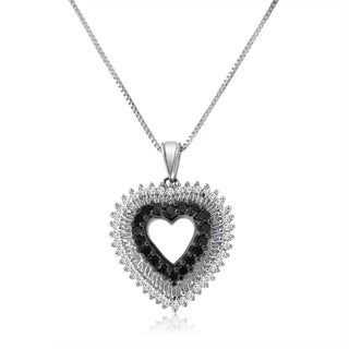 Sterling Silver 1/2ct TDW Black and White Diamond Heart Necklace (H-I, I1-I2)