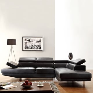Fusion Black Bonded Leather Adjustable Headrest Sectional