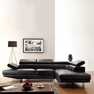 Tribecca Home Fusion Black Bonded Leather Adjustable Headrest Sectional