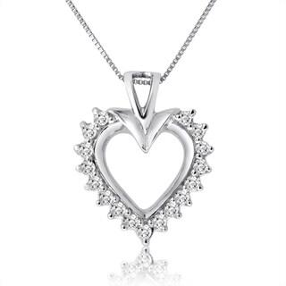 10k White Gold 1/2ct TDW Diamond Heart Necklace (H-I, I1-I2)