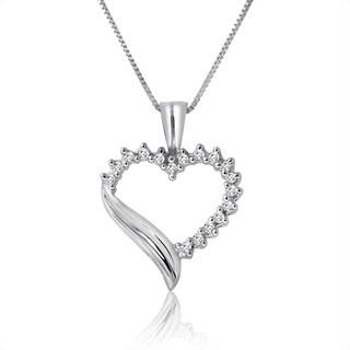 10k White Gold 1/5ct TDW Diamond Heart Necklace (H-I, I1-I2)