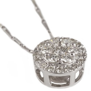 Beverly Hills Charm 14k White Gold 1/2ct TDW Diamond Halo Cluster Necklace